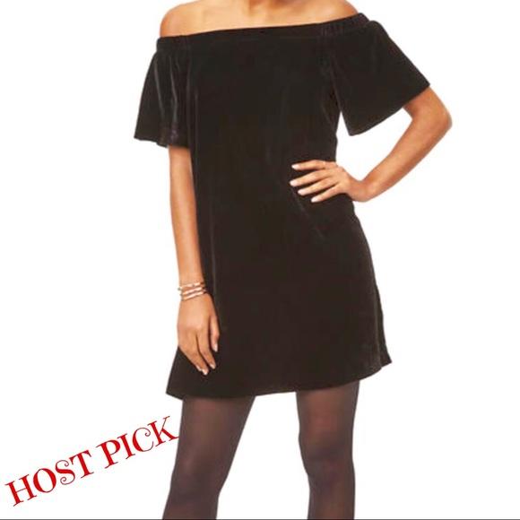 7f073d8571bd 📌LOFT Velvet Off-Shoulder Mini Swing Dress Size S